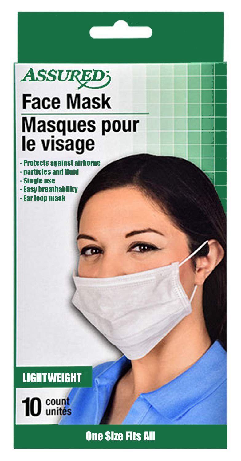 Assured Disposable Medical Face Masks -2 Packs- 20 Count