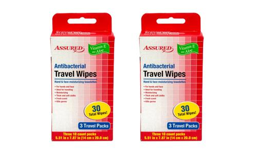 Antibacterial Resealable Wet Wipes, Small Travel 2 Packs