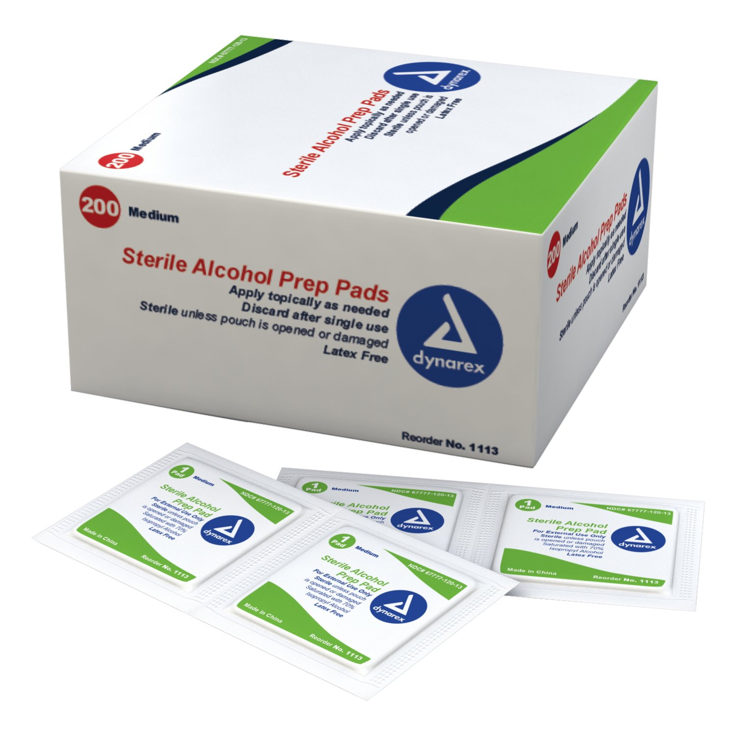 Dynarex 1113c Latex Free Sterile Alcohol Preparation Pad, 4.2 Pound (Pack of 2000)