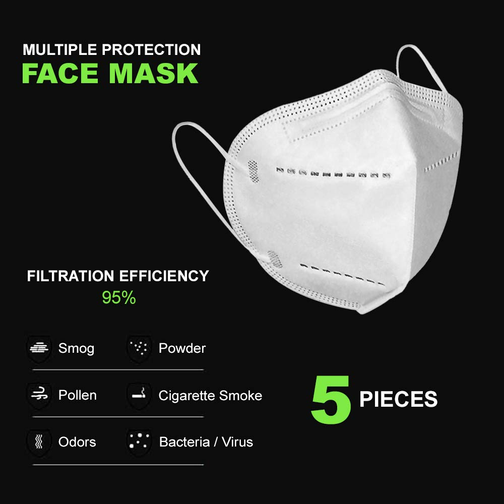 5-Ply Face Mask with Elastic Ear Loop (Pack of 5) Individually Packed in Poly Bag, 5 per Box, Adult