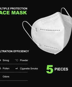 5-Ply Face Mask with Elastic Ear Loop(5Pack)KN95 Mask