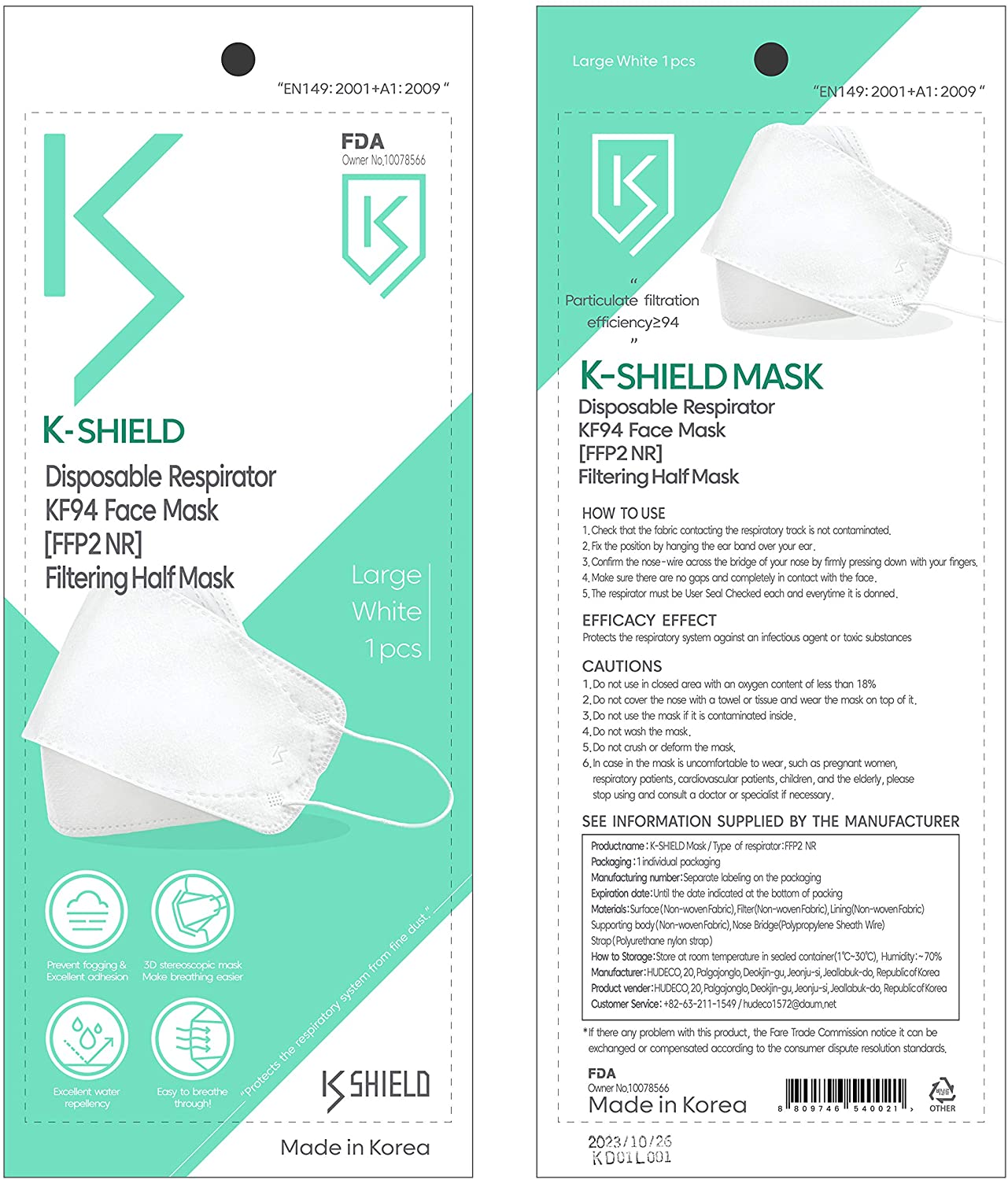 Kids Washable 2-Layer Protective Mask, 3-D Perfect Fit Individually Packed