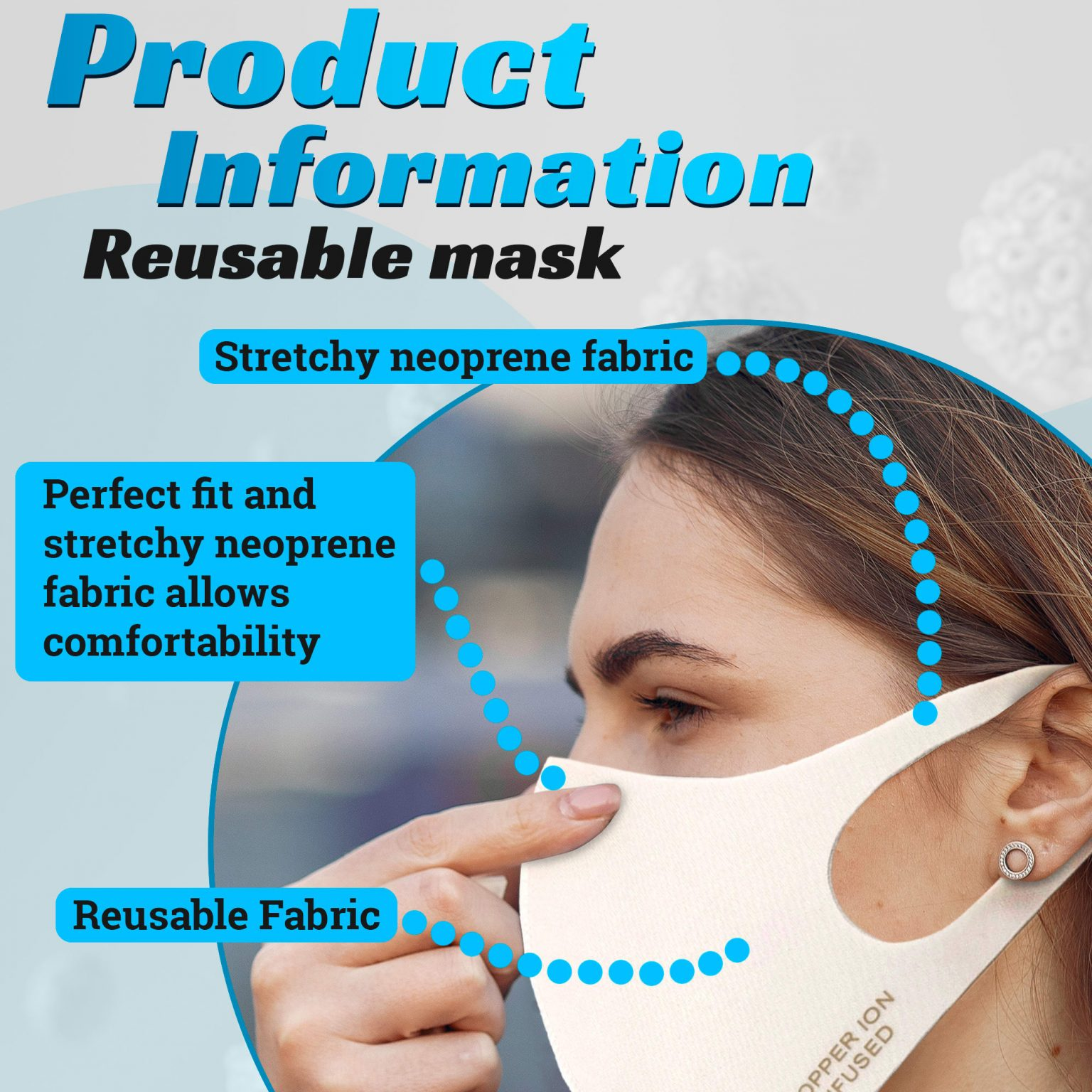 Copper Ion Infused Mask 2 pack