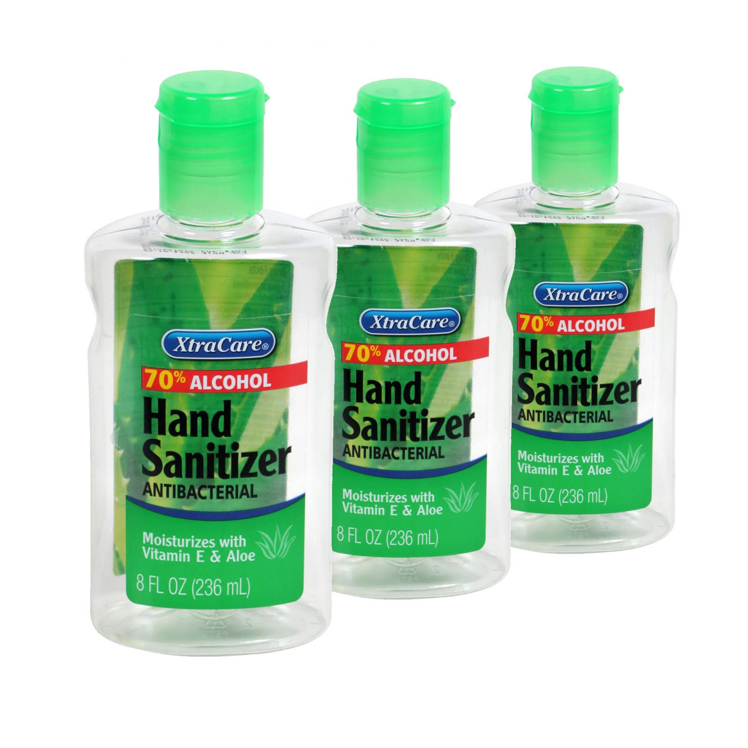 Xtra Care Antibacterial Hand Sanitizer with Vitamin E & Aloe 8oz Bottles 3 pack